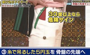 千円札と5円玉を使った骨盤の傾きチェック法