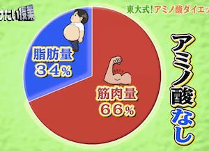 アミノ酸ダイエットで落ちる筋肉量・脂肪量のグラフ